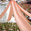 "20Ft Blush | Rose Gold Ceiling Drapes Sheer Curtain Panels Fire Retardant Fabric With 4"" Pocket"