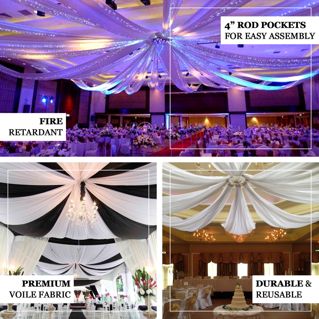 20ft Black Ceiling Drapes Sheer Curtain Panels Fire Retardant Fabric With 4 Pocket Tableclothsfactory