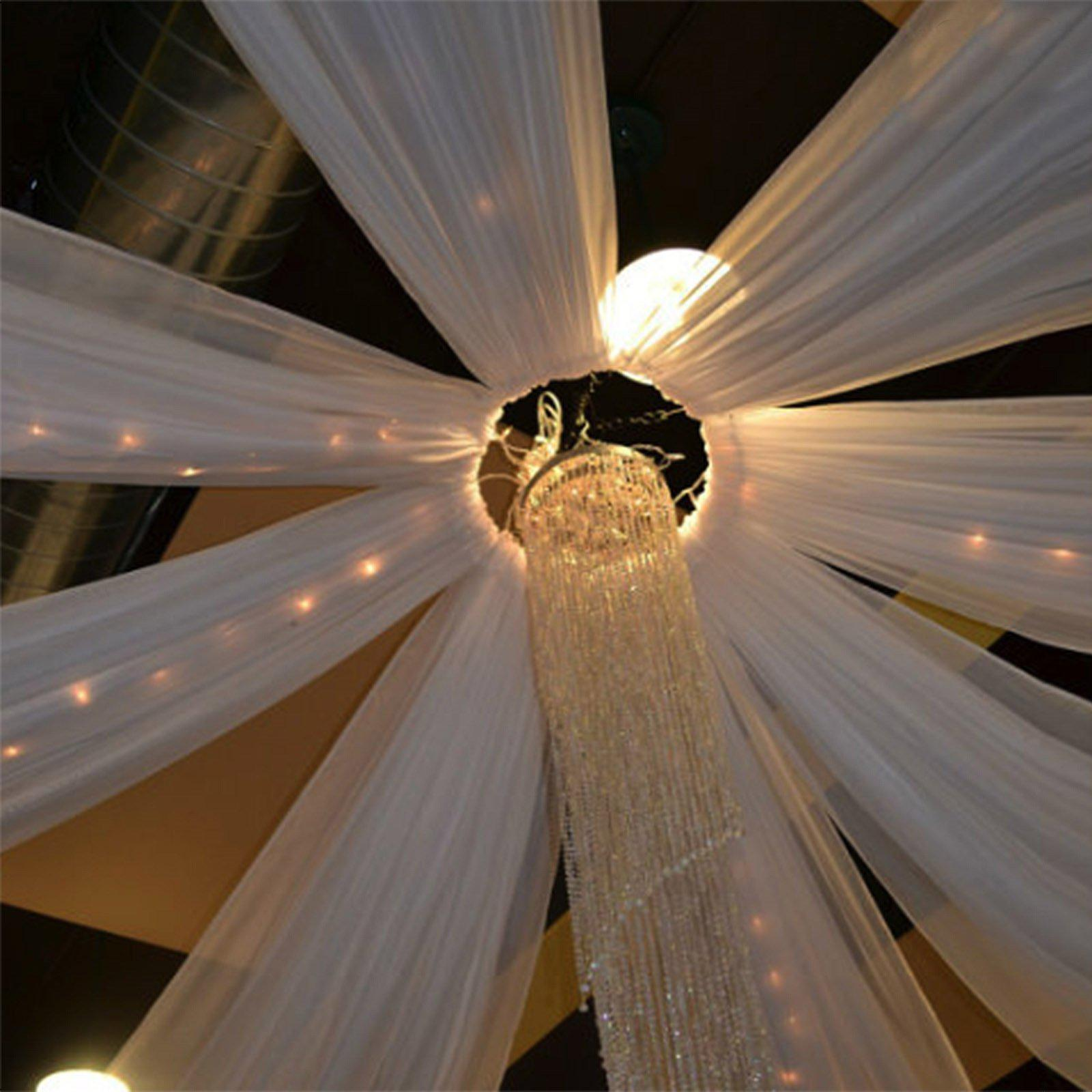 20ft White Ceiling Drapes Sheer Curtain Panels Fire Retardant Fabric With 4 Pocket Tableclothsfactory