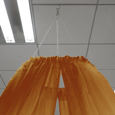 "30Ft Gold Ceiling Drapes Sheer Curtain Panels Fire Retardant Fabric With 4"" Pocket"