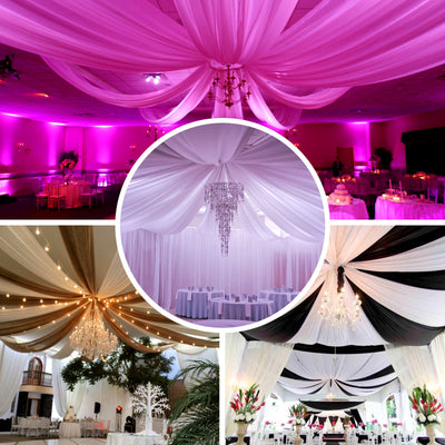 "40Ft Silver Ceiling Drapes Sheer Curtain Panels Fire Retardant Fabric With 4"" Pocket  - Clearance SALE"