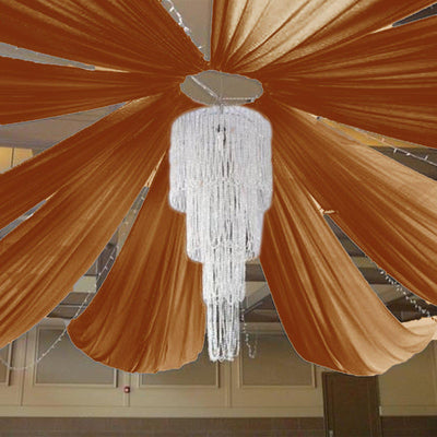 "40Ft Gold Ceiling Drapes Sheer Curtain Panels Fire Retardant Fabric With 4"" Pocket"