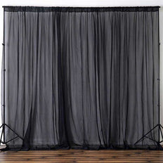 10FT Fire Retardant Black Sheer Voil Curtain Panel Backdrops With Rod Pockets - Premium Collection
