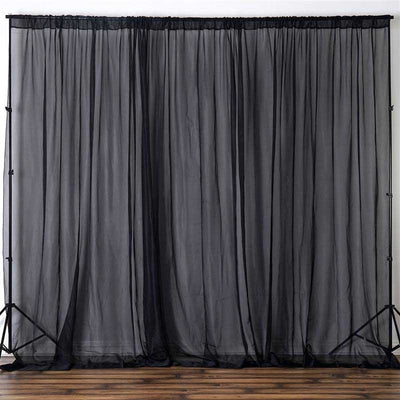 2 Pack | 5FTx10FT Black Fire Retardant Sheer Organza Premium Curtain Panel Backdrops With Rod Pockets