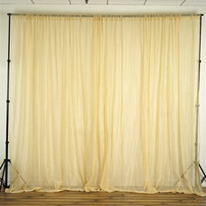 10FT Fire Retardant Champagne Sheer Voil Curtain Panel Backdrop - Premium Collection