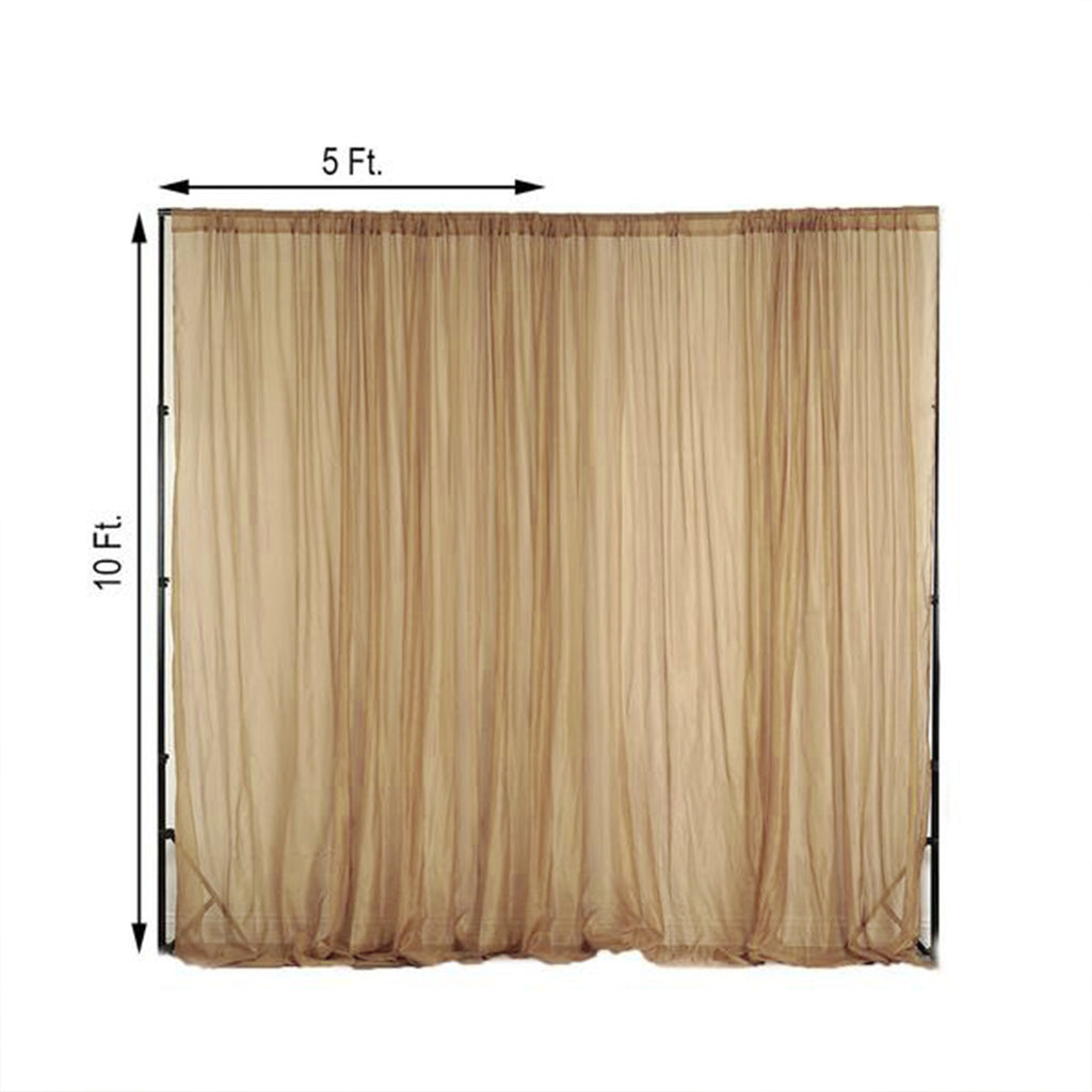 Pack Of 2 5ftx10ft Gold Fire Retardant Sheer Organza Premium Curtain Panel Backdrops With Rod Pockets Tableclothsfactory