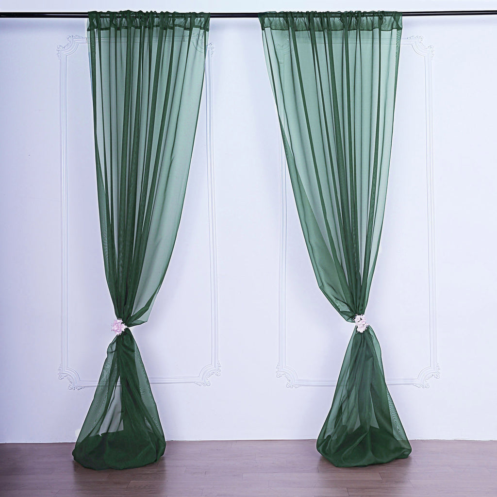 Pack Of 2 5ftx10ft Hunter Emerald Green Fire Retardant Sheer Organza Premium Curtain Panel Backdrops With Rod Pockets Tableclothsfactory