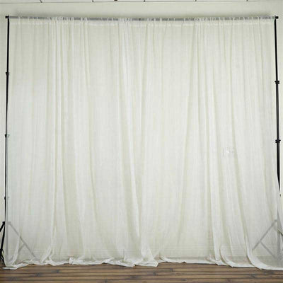 Set Of 2 Ivory Fire Retardant Sheer Organza Premium Curtain Panel Backdrops With Rod Pockets - 5FTx10FT