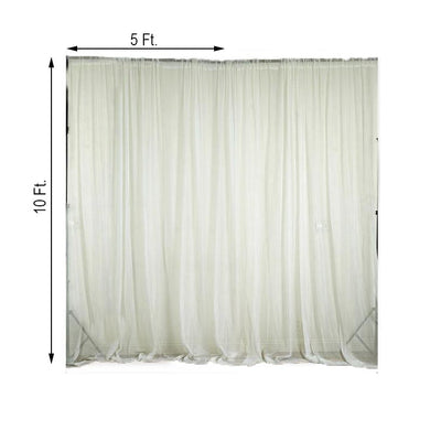 Pack of 2 | 5FTx10FT Ivory Fire Retardant Sheer Organza Premium Curtain Panel Backdrops With Rod Pockets