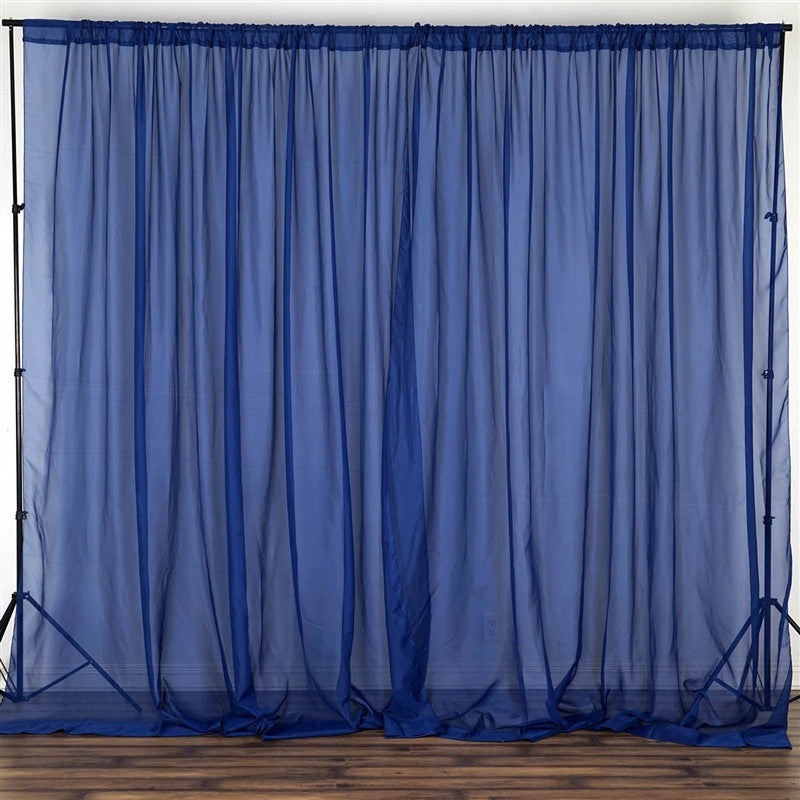 10ft Fire Retardant Navy Sheer Voil Curtain Panel Backdrop