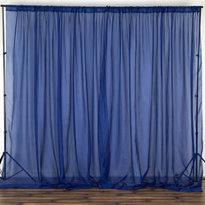 10FT Fire Retardant Navy Sheer Voil Curtain Panel Backdrop - Premium Collection