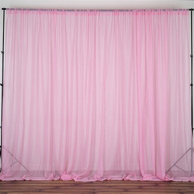 10FT Fire Retardant Pink Sheer Voil Curtain Panel Backdrop - Premium Collection