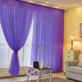 Pack of 2 | 5FTx10FT Purple Fire Retardant Sheer Organza Premium Curtain Panel Backdrops With Rod Pockets