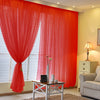 Pack of 2 | 5FTx10FT Red Fire Retardant Sheer Organza Premium Curtain Panel Backdrops With Rod Pockets