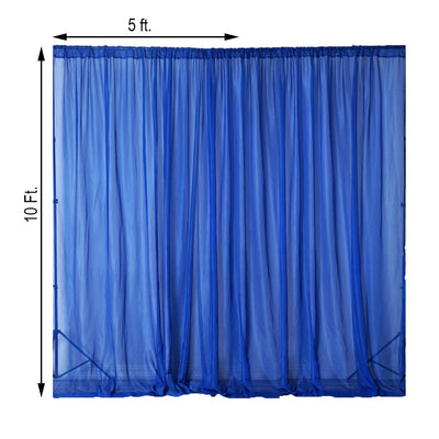 Pack of 2 | 5FTx10FT Royal Blue Fire Retardant Sheer Organza Premium Curtain Panel Backdrops With Rod Pockets