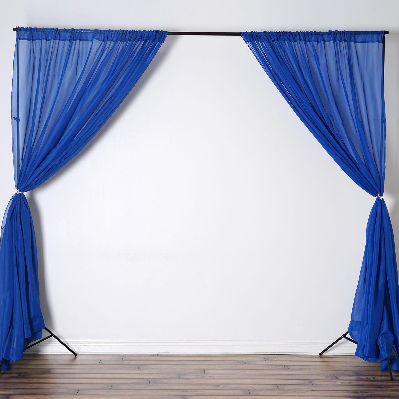 10FT Fire Retardant Royal Blue Sheer Voil Curtain Panel Backdrop