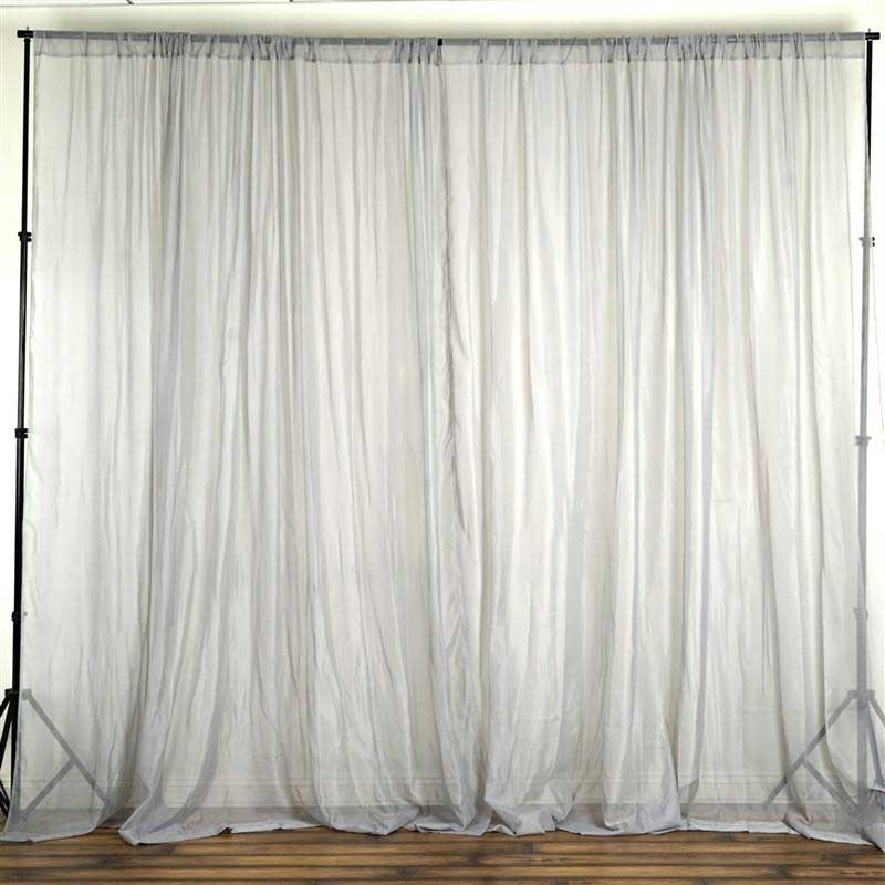 Set Of 2 Silver Fire Retardant Sheer Organza Premium Curtain Panel Backdrops With Rod Pockets