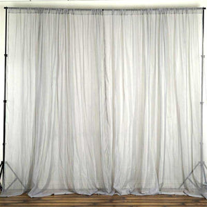 2 Pack | 5FTx10FT Silver Fire Retardant Sheer Organza Premium Curtain Panel Backdrops With Rod Pockets