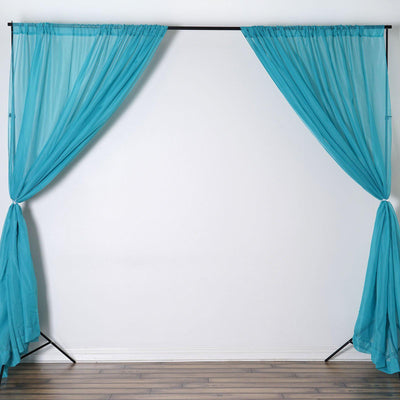 Pack of 2 | 5FTx10FT Turquoise Fire Retardant Sheer Organza Premium Curtain Panel Backdrops With Rod Pockets