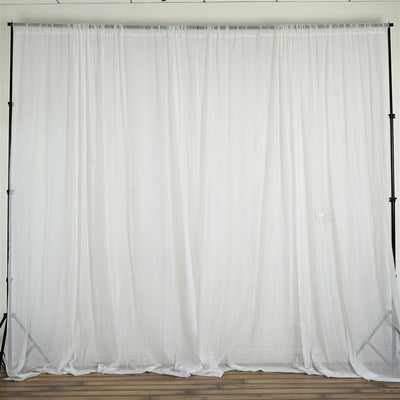 10FT Fire Retardant White Sheer Voil Curtain Panel Backdrop - Premium Collection