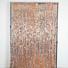 "Pack of 2 | 52""x108"" Big Payette Sequin Curtains With Rod Pocket Window Treatment Panels - Rose Gold 