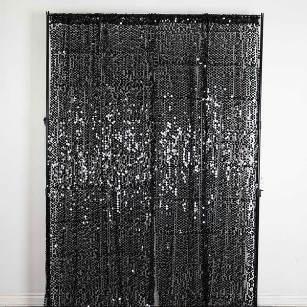 "Pack of 2 | 52""x108"" Black Big Payette Sequin Curtains With Rod Pocket Window Treatment Panels - Clearance SALE"