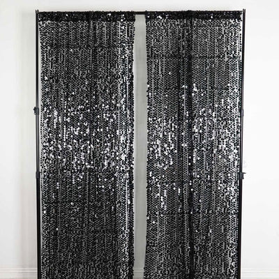 "Pack of 2 | 52""x108"" Black Big Payette Sequin Curtains With Rod Pocket Window Treatment Panels"