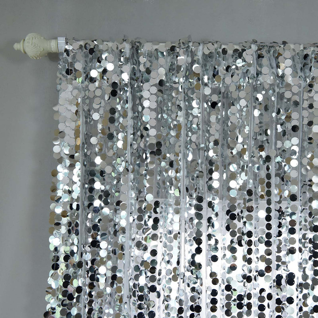 Big Payette Sequin Curtains 52x108 Quot Silver Pack Of 2