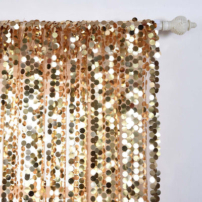 "Pack of 2 | 52""x64"" Gold Big Payette Sequin Curtains With Rod Pocket Window Treatment Panels"