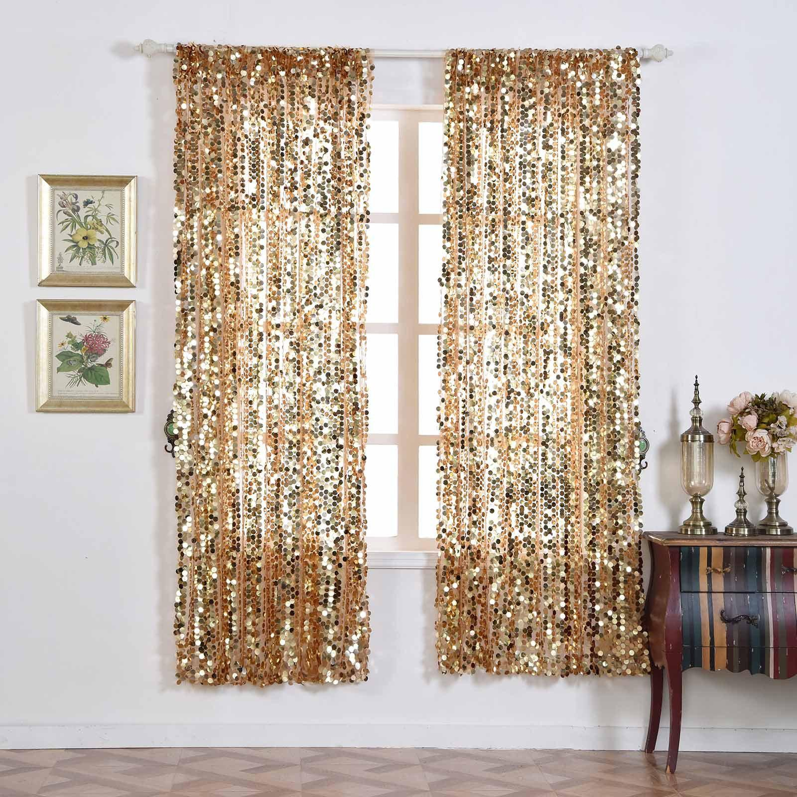 Big Payette Sequin Curtains 52x84 Quot Gold Pack Of 2 Window