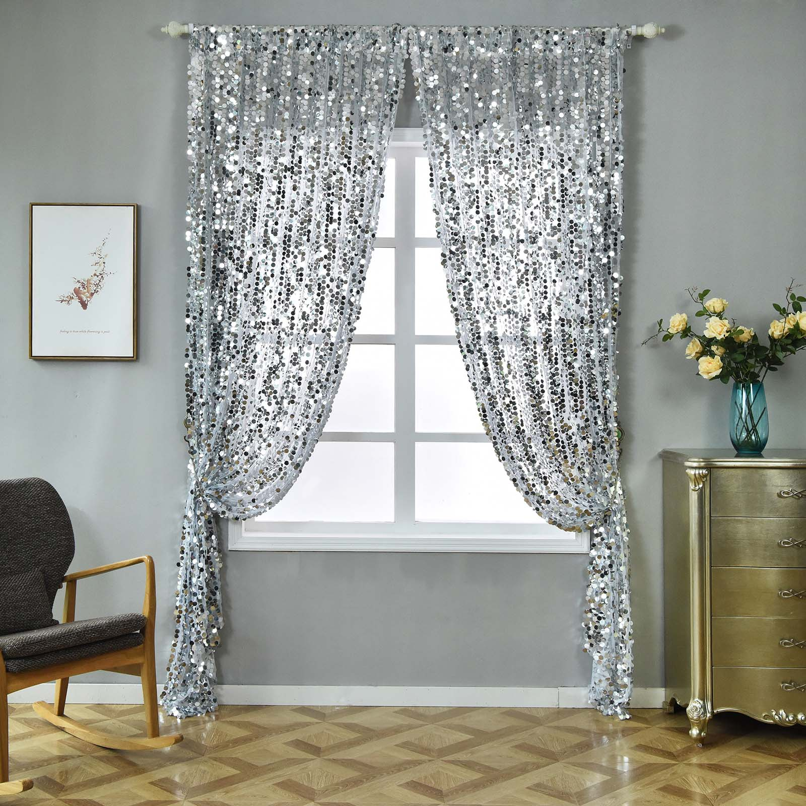 Big Payette Sequin Curtains 52x84 Silver Pack Of 2 Window Treatment Panels With Rod Pockets