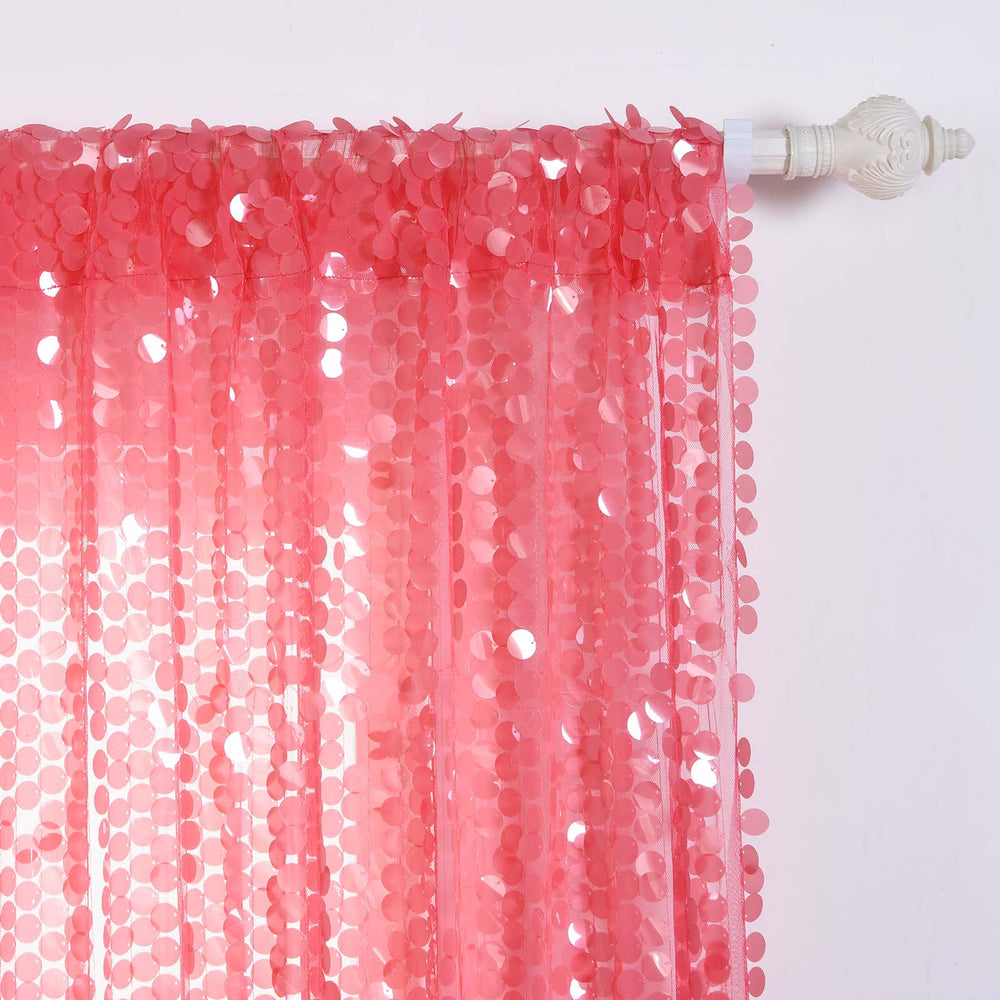 Big Payette Sequin Curtains 52x96 Quot Coral Pack Of 2 Window