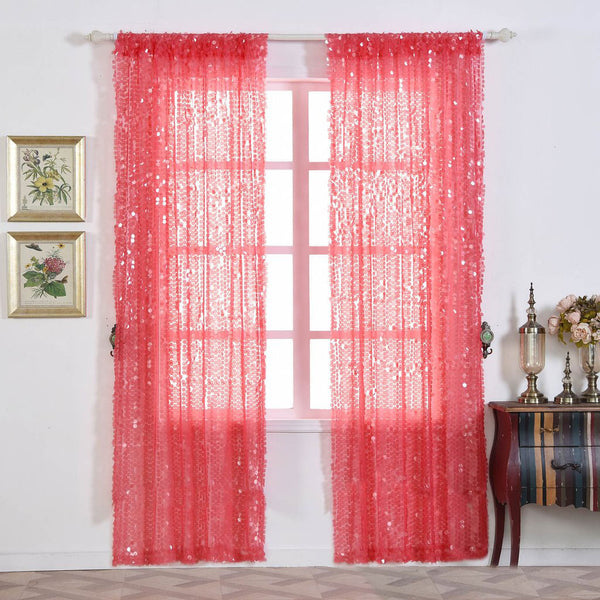 Big Payette Sequin Curtains 52x96 Coral Pack Of 2 Window Treatment Panels With Rod Pockets