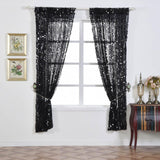 "2 Pack | 52x96"" Black Big Payette Sequin Window Treatment Home Decor Curtain Backdrop Panels With Rod Pockets"