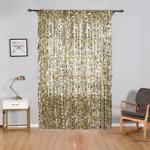 "Pack of 2 | 52""x84"" Champagne Big Payette Sequin Curtains With Rod Pocket Window Treatment Panels - Clearance SALE"