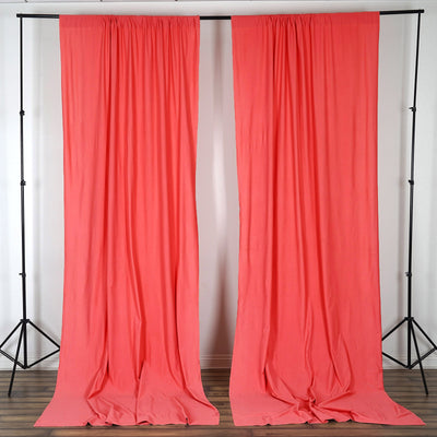 Pack of 2 | 5FTx10FT Coral Fire Retardant Polyester Curtain Panel Backdrops With Rod Pockets