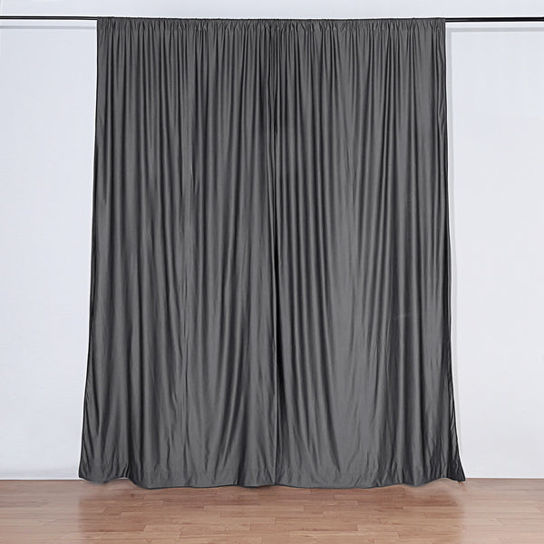 Pack of 2 | 5FTx10FT Charcoal Gray Fire Retardant Polyester Curtain Panel Backdrops With Rod Pockets