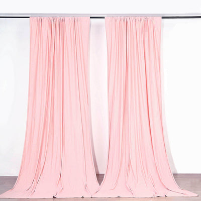 Pack of 2 - 5FTx10FT Fire Retardant Polyester Curtain Panel Backdrops With Rod Pockets - Blush | Rose Gold