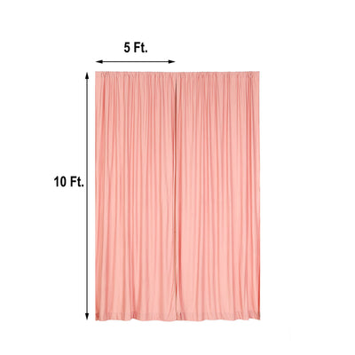 Pack of 2 | 5FTx10FT Dusty Rose Fire Retardant Polyester Curtain Panel Backdrops With Rod Pockets