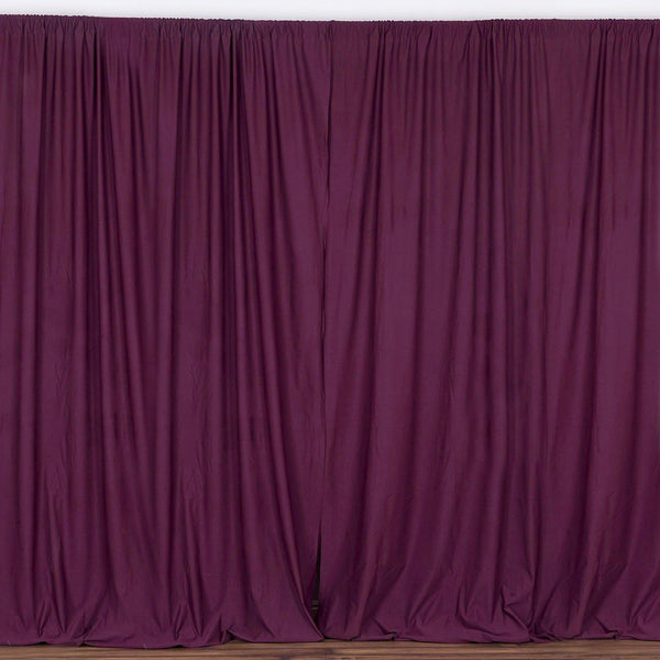 Pack of 2 | 5FTx10FT Eggplant Fire Retardant Polyester Curtain Panel Backdrops With Rod Pockets
