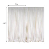 Pack of 2 | 5FTx10FT Ivory Fire Retardant Polyester Curtain Panel Backdrops With Rod Pockets