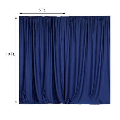 Pack of 2 | 5FTx10FT Navy Blue Fire Retardant Polyester Curtain Panel Backdrops With Rod Pockets