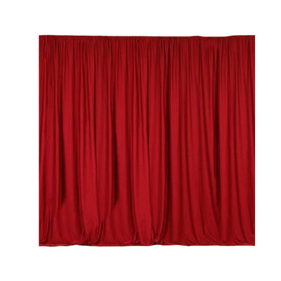 Pack of 2 | 5FTx10FT Red Fire Retardant Polyester Curtain Panel Backdrops With Rod Pockets