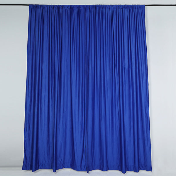 Pack of 2 | 5FTx10FT Royal Blue Fire Retardant Polyester Curtain Panel Backdrops With Rod Pockets