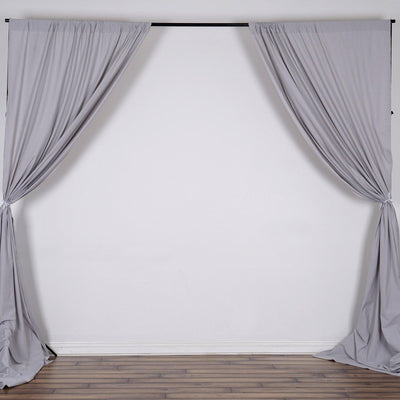 Pack of 2 | 5FTx10FT Silver Fire Retardant Polyester Curtain Panel Backdrops With Rod Pockets