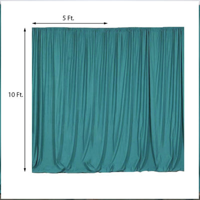 Pack of 2 | 5FTx10FT Turquoise Fire Retardant Polyester Curtain Panel Backdrops With Rod Pockets