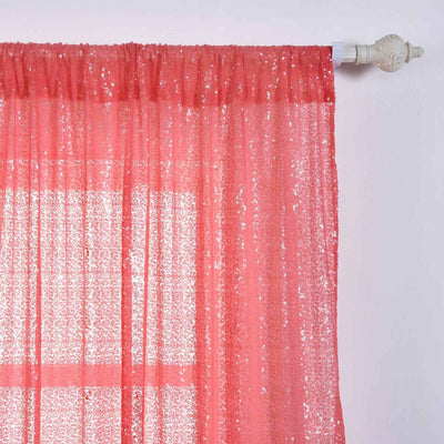 "2 Pack | 52""x108"" Coral Sequin Curtains With Rod Pocket Window Treatment Panels"