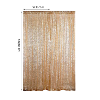 "Pack of 2 | 52""x108"" Gold Sequin Curtains With Rod Pocket Window Treatment Panels"