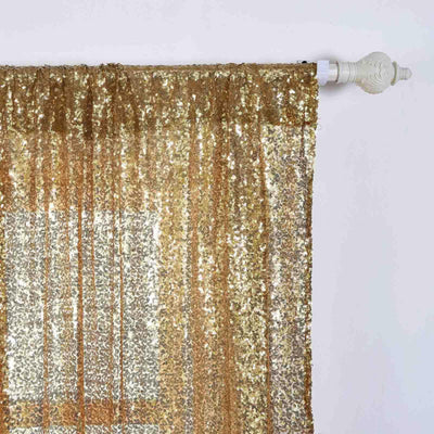 "2 Pack | 52""x108"" Gold Sequin Curtains With Rod Pocket Window Treatment Panels"