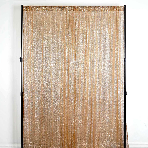 "Pack of 2 | 52""x108"" Gold Sequin Curtains With Rod Pocket Window Treatment Panels - Clearance SALE"